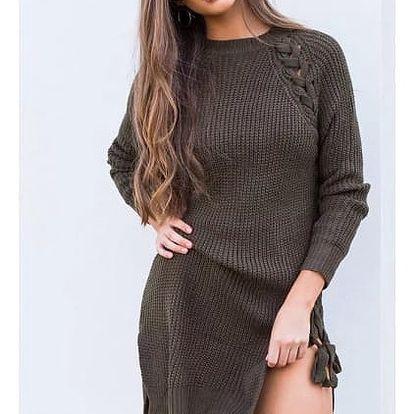 Dlouhý dámský svetr s rozparky Lexie