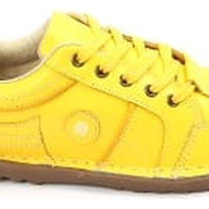 Kvalitní dámské kožené boty SUPER IN yellow