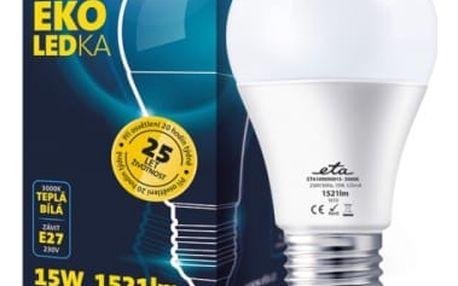 Žárovka LED ETA EKO LEDka klasik, 15W, E27, teplá bílá (A60-PR-1521-16A) bílá