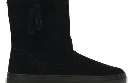 Černé kozačky Crocs Lodgepoint Suede Pullon Boot