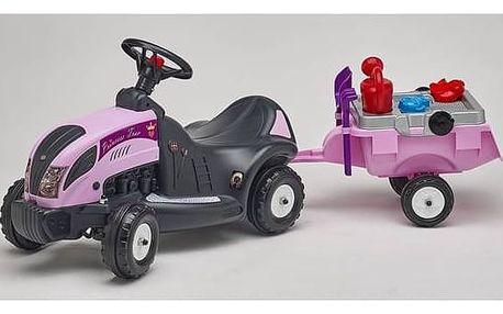Odrážedlo plastové FALK - traktor Princes s volantem, valníkem a příslušenstvím plast
