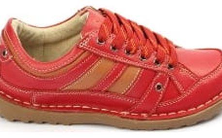 Kvalitní dámské kožené boty SUPER IN Strips Red