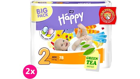 2x BELLA HAPPY Mini 2 (3-6kg) Big Pack 78ks – jednorázové plenky