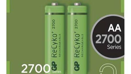 Baterie nabíjecí GP AA, HR6, 2700mAh, Ni-MH, krabička 2ks (1032212130) zelená