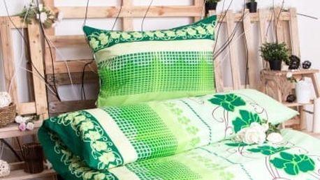 XPOSE ® Prodloužené bavlněné povlečení AMÁLIE - zelená 140x220, 70x90