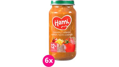 6x HAMI Makaróny s dušeným vepřovým, rajčaty a paprikou (250 g) - maso-zeleninový příkrm