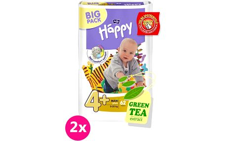2x BELLA HAPPY Maxi Plus Big Pack 4+ (9-20 kg) 62 ks – jednorázové pleny