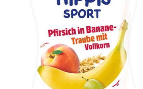 6x HIPP HiPPiS BIO Sport Broskev-Banán-Bílé hrozno-Obiloviny 120 g – ovocný příkrm