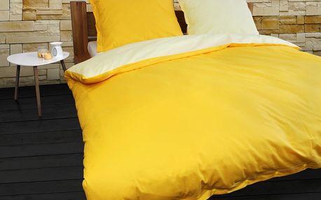 Gipetex Natural Dream Italské povlečení 100% bavlna LUX Doubleface světle/tmavě žlutá