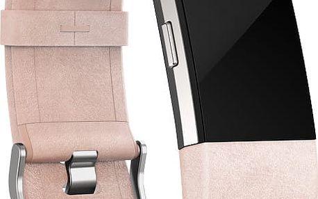 Fitbit Charge 2 Accessory Band kožený L, růžová - FB160LBPKL