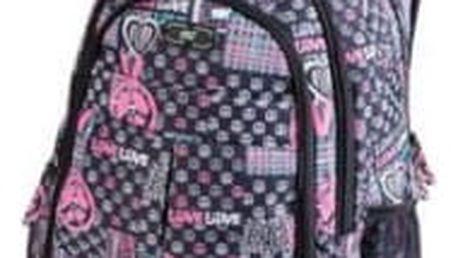 EASY studentský tříkomorový šedo-růžový batoh Love (S920771)