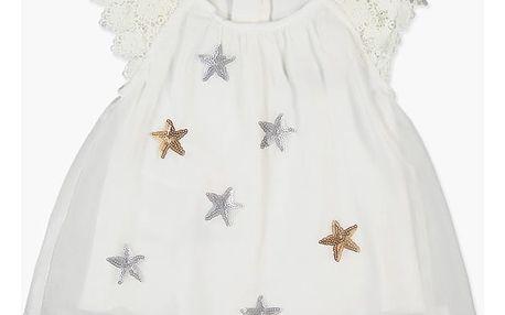 BOBOLI Společenské šifonové šaty, hvězdy, vel. 74 cm - bílá, holka
