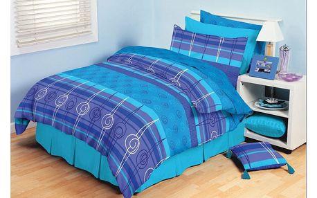 TipTrade bavlna povlečení Amber Modré 140x200 70x90, 140 x 200 cm, 70 x 90 cm