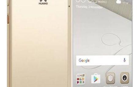 Mobilní telefon Huawei P10 Dual SIM (SP-P10DSGOM) zlatý Fitness náramek Huawei Color Band A1 - černé (zdarma)Adaptér do auta Huawei AP38, s funkcí rychlonabíjení + USB-C kabel - černý/stříbrný (zdarma)Power Bank Aligator PB150 se svítilnou 15600mAh - bílá