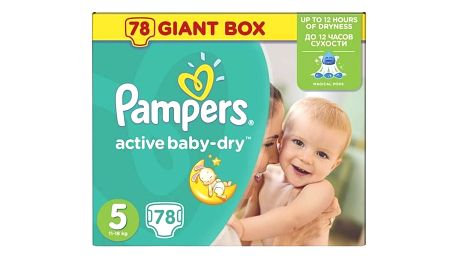 Plenky Pampers Active Baby-dry vel.5 Junior, 78ks