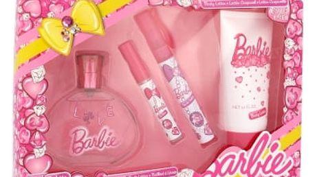 Barbie Barbie dárková kazeta toaletní voda 100 ml + toaletní voda 9,5 ml + lesk na rty 2,5 ml + tělové mléko 150 ml