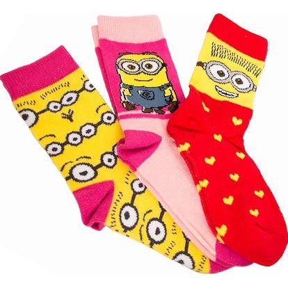 3PACK ponožky Disney Mimoni žlutá srdíčka 31/34