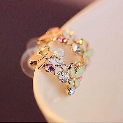 Jemné naušnice Visící Motýlci poseté barevnými kamínky