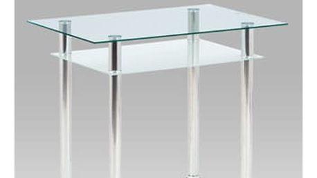 Jídelní stůl 90 x 60 cm, sklo + chrom GDT-111 CLR Autronic