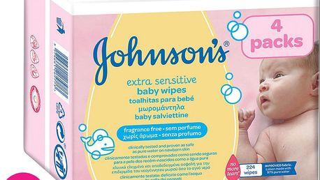 3x JOHNSON'S BABY Extra Sensitive 224 ks - čistící ubrousky