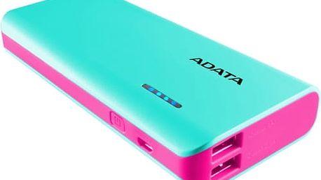 Power Bank A-Data PT100 10000mAh (APT100-10000M-5V-CTBPK) modrá/růžová