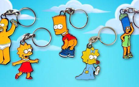 Kovové klíčenky se žlutou rodinkou Simpsonů