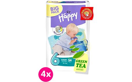 4x BELLA HAPPY 6 Junior (16+ kg) extra Big Pack, 54 ks - jednorázové pleny