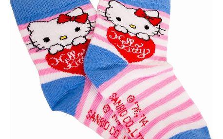 Ponožky Disney Hello Kitty růžové proužky 35/37