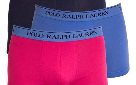 3PACK pánské boxerky Ralph Lauren modro růžové L