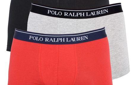 3PACK pánské boxerky Ralph Lauren černo červeno šedé XL