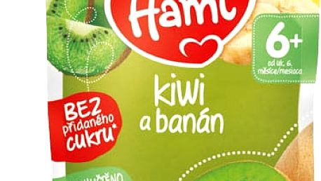 6x HAMI Kapsička kiwi a banán 90 g - ovocný příkrm