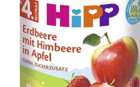 6x HIPP BIO Jablka s jahodami a malinami, 190 g - ovocný přírkm