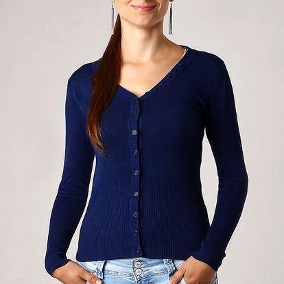 Elegantní propínací svetr tmavě modrá