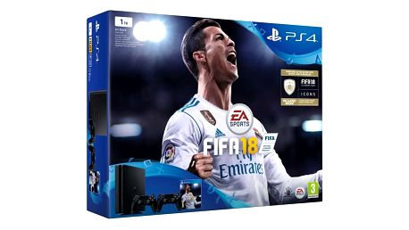 PlayStation 4 Slim, 1TB, černá + 2x DualShock 4 v2 + FIFA 18 - PS719915867