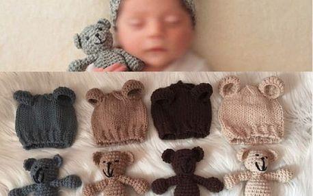Dětská čepička s oušky a medvídek