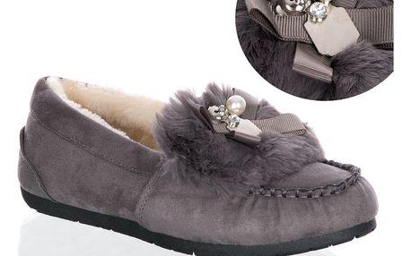 Fashion world Dámské mokasíny kožešinové Bear Pearl zimní boty
