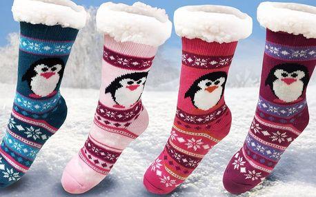 Domácí teplé ponožky s kožíškem