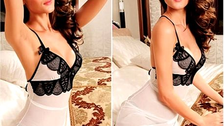 Nádherná noční košilka Shell Lace v kombinaci bílé a černé barvy s prodyšným elastickým materiálem