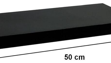 STILISTA 31045 Nástěnná police VOLATO - lesklá černá 50 cm