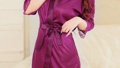 Vzrušující, přijemná a neuvěřitelně krásná noční košilka Geisha, v nádherné fialové barvě + Tanga Zdarma