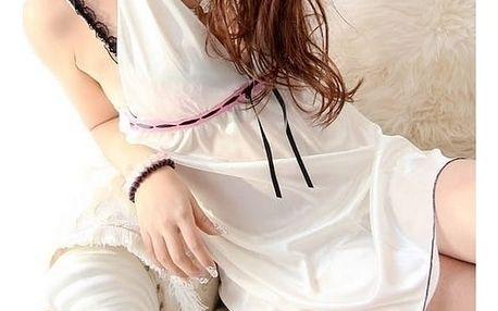 Svůdná noční košilka Angel Flowers ve zlatavo bílé barvě + ZDARMA tanga