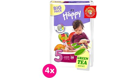 4x BELLA HAPPY Junior 5 (12-25kg) Big Pack 58 ks - jednorázové plenky