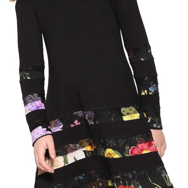 Desigual černé dívčí šaty Flare