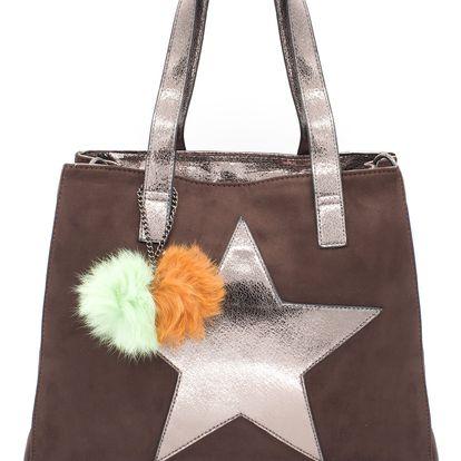 CO & COO Fashion Dámská kabelka hvězda s bambulí semíšová