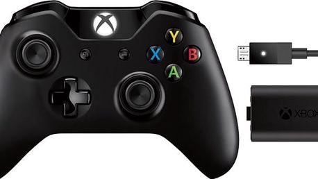 Xbox ONE Bezdrátový ovladač, černý + nabíjecí sada (PC, Xbox ONE) - EX7-00002