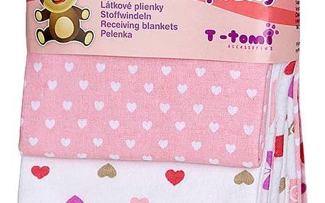 T-TOMI Látkové pleny, 76 x 76 cm sada 4 ks, růžoví šneci
