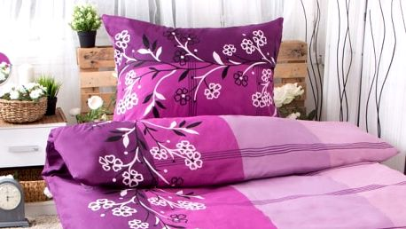 XPOSE ® Bavlněné povlečení na dvě lůžka ADINA - fialová 140x200, 70x90