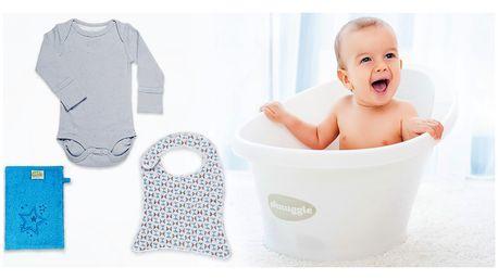 4dílný set pro miminka: vanička Shnuggle i body