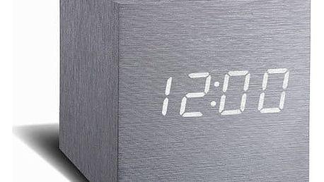 Budík s bílým LED displejem Gingko Cube Click Clock, šedý