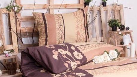 XPOSE ® Bavlněné povlečení na dvě lůžka KAMILA - hnědá 140x200, 70x90